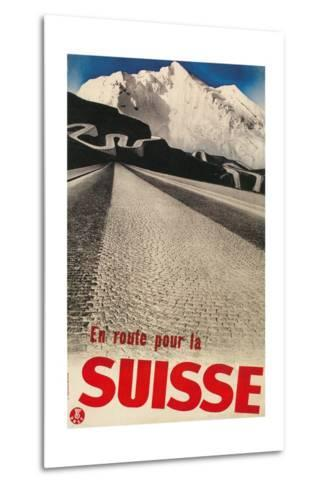 Swiss Travel Poster, Road to Alps--Metal Print