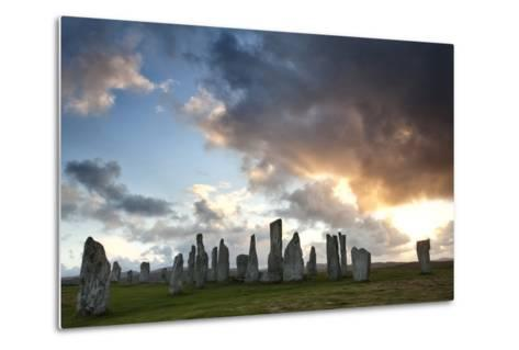 Standing Stones of Callanish at Sunset with Dramatic Sky in the Background-Lee Frost-Metal Print