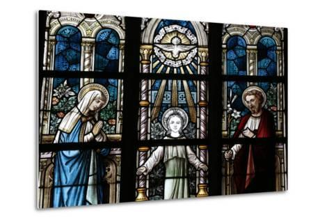 The Holy Family Depicted in a Stained Glass Window-Godong-Metal Print