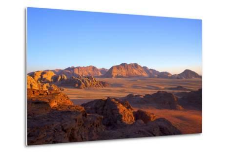 Tourist at Wadi Rum, Jordan, Middle East-Neil Farrin-Metal Print