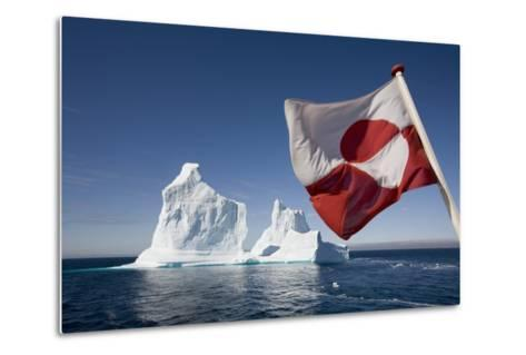 Greenland Flag on Arctic Umiaq Line Ferry-Paul Souders-Metal Print
