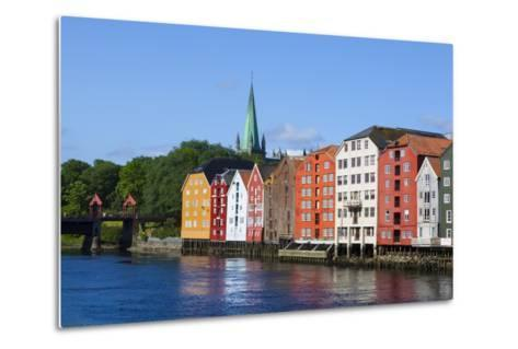 Nidaros Cathedral, Old Fishing Warehouses and Gamle Bybro, Trondheim-Doug Pearson-Metal Print