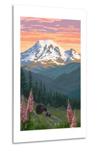 Bear Family and Spring Flowers (Rainier Background)-Lantern Press-Metal Print