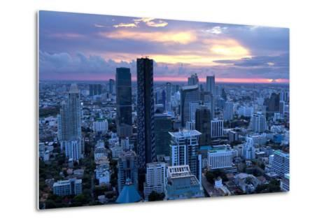 View over Bangkok at Sunset from the Vertigo Bar on the Roof the Banyan Tree Hotel-Lee Frost-Metal Print