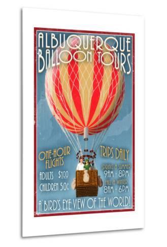 Albuquerque, New Mexico - Hot Air Balloon Tours - Vintage Sign-Lantern Press-Metal Print