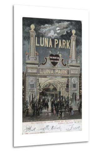 Postcard of Luna Park at Coney Island--Metal Print