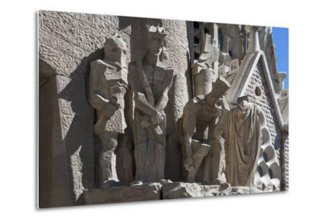 Tableaux in Carved Stone Near the Entrance to Sagrada Familia, Barcelona, Catalunya, Spain, Europe-James Emmerson-Metal Print