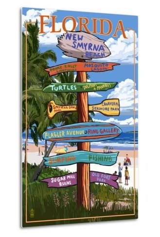 New Smyrna Beach, Florida - Destinations Signpost-Lantern Press-Metal Print