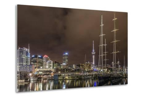 Night View of the City of Auckland from Auckland Harbour, North Island, New Zealand, Pacific-Michael Nolan-Metal Print