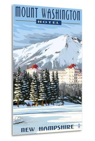 Mount Washington Hotel in Winter - Bretton Woods, New Hampshire-Lantern Press-Metal Print