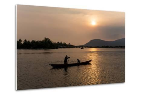 Father and Son Fishing on Kampong Bay River at Sunset-Ben Pipe-Metal Print
