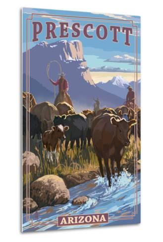 Prescott, Arizona - Cowboy Cattle Drive Scene-Lantern Press-Metal Print