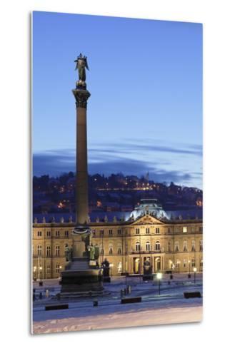 Column at Schlossplatz Square and Neues Schloss Castle-Markus Lange-Metal Print