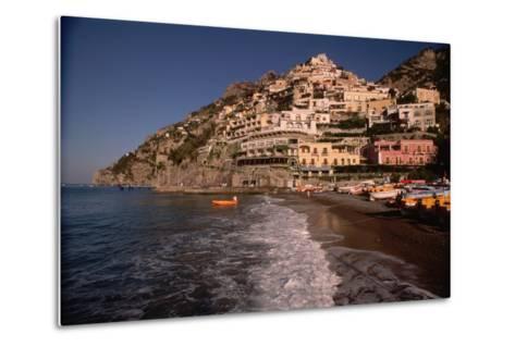 Beach in Positano, Italy-Vittoriano Rastelli-Metal Print