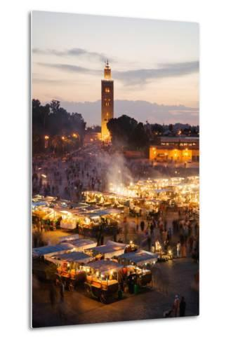 Elevated View of the Koutoubia Mosque at Dusk from Djemaa El-Fna-Gavin Hellier-Metal Print