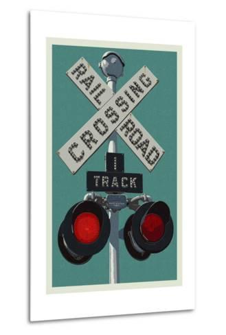 Railroad Crossing-Lantern Press-Metal Print