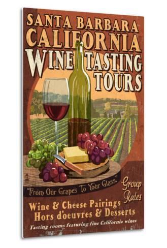 Santa Barbara, California - Wine Tasting Vintage Sign-Lantern Press-Metal Print