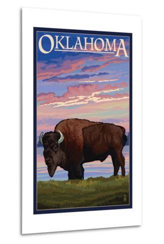 Oklahoma - Buffalo and Sunset-Lantern Press-Metal Print