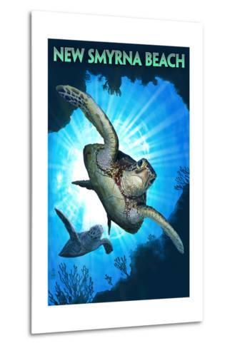 New Smyrna Beach, Florida - Sea Turtle Diving-Lantern Press-Metal Print