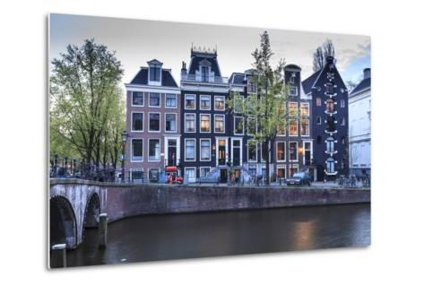 Old Gabled Houses Line the Keizersgracht Canal at Dusk, Amsterdam, Netherlands, Europe-Amanda Hall-Metal Print