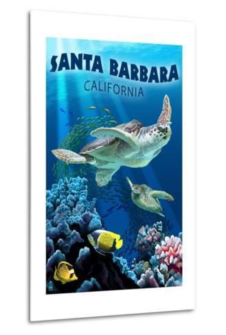 Santa Barbara, California - Sea Turtle Swimming-Lantern Press-Metal Print