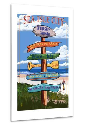 Sea Isle City, New Jersey - Destination Sign-Lantern Press-Metal Print