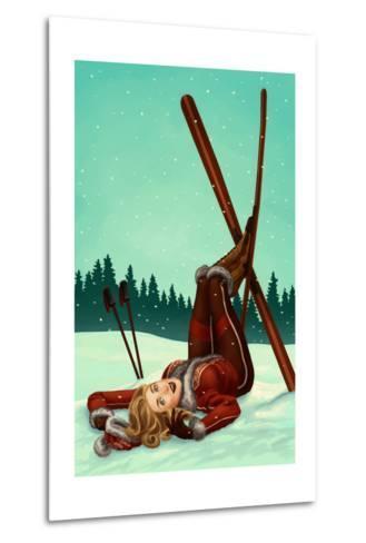 Ski Pinup-Lantern Press-Metal Print