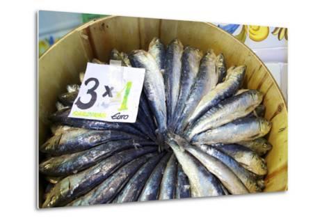 Sardines in Mercado Central (Central Market), Valencia, Spain, Europe-Neil Farrin-Metal Print
