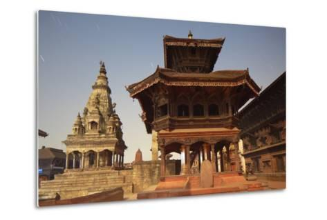 Moonlit View of Durbar Square, Bhaktapur, UNESCO World Heritage Site, Kathmandu Valley, Nepal, Asia-Ian Trower-Metal Print