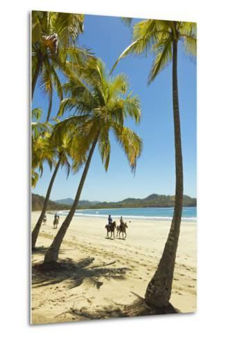 Horse Riders on Beautiful Palm Fringed Playa Carrillo-Rob Francis-Metal Print