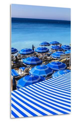 Beach Parasols, Nice, Alpes Maritimes, Provence, Cote D'Azur, French Riviera, France, Europe-Amanda Hall-Metal Print
