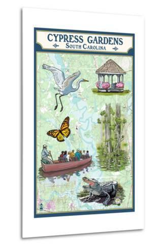 Cypress Gardens, South Carolina - Nautical Chart-Lantern Press-Metal Print