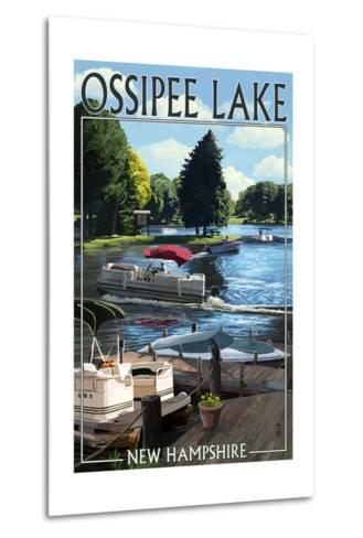Ossipee Lake, New Hampshire - Pontoon Boats-Lantern Press-Metal Print