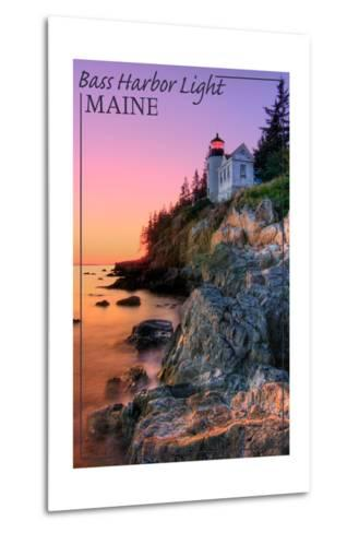 Maine - Bass Harbor Light-Lantern Press-Metal Print
