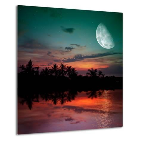 Magical Evening on the Ocean and the Moon-Krivosheev Vitaly-Metal Print