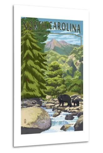 North Carolina - Bears and Creek-Lantern Press-Metal Print