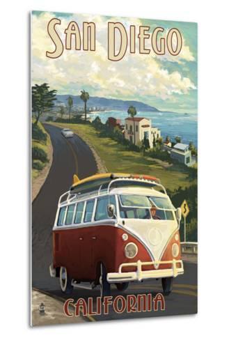 San Diego, California - VW Van Cruise-Lantern Press-Metal Print