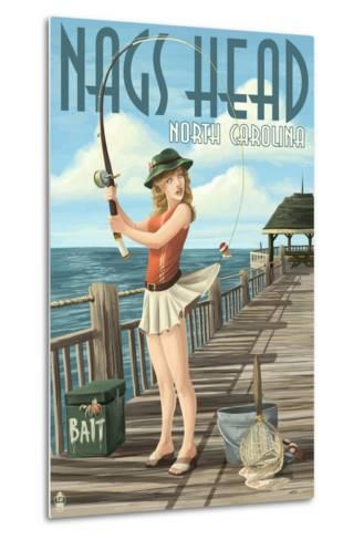 Nags Head, North Carolina - Pinup Girl Fishing-Lantern Press-Metal Print