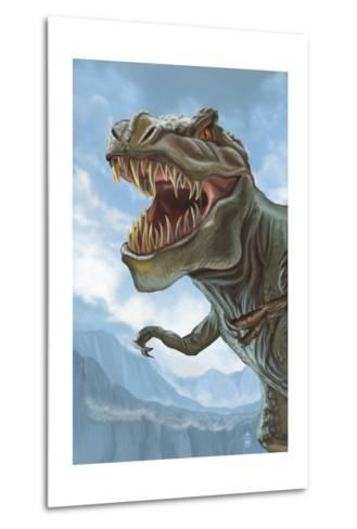 T Rex Dinosaur-Lantern Press-Metal Print