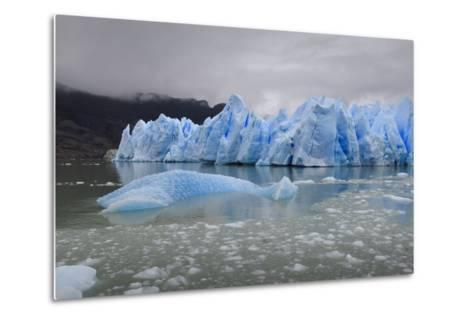 Lake-Level View of Blue Ice at the Glacier Face and Iceberg-Eleanor Scriven-Metal Print