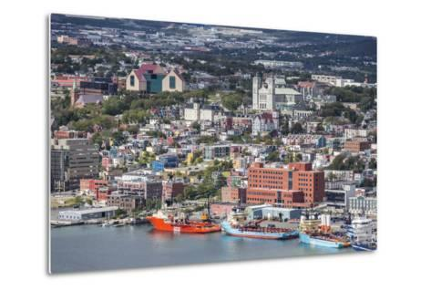 St. Johns Harbour and Downtown Area, St. John'S, Newfoundland, Canada, North America-Michael Nolan-Metal Print