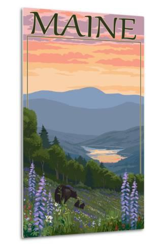 Maine - Bear and Cubs in Spring Flowers-Lantern Press-Metal Print