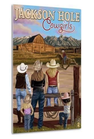 Jackson Hole, Wyoming - Cowgirls-Lantern Press-Metal Print
