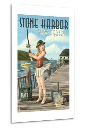 Stone Harbor, New Jersey - Fishing Pinup-Lantern Press-Metal Print