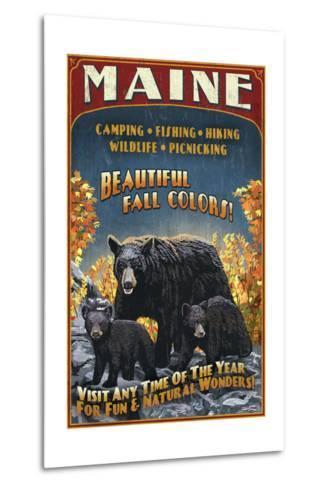 Maine - Black Bear Family Vintage Sign-Lantern Press-Metal Print