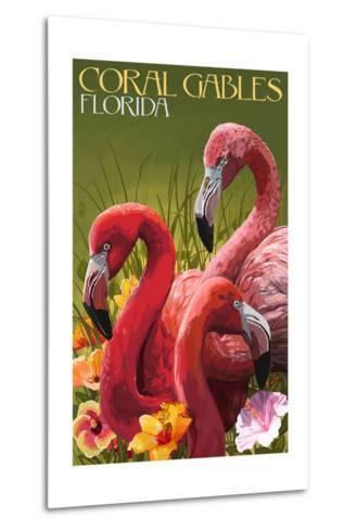 Coral Gables, Florida - Flamingos-Lantern Press-Metal Print