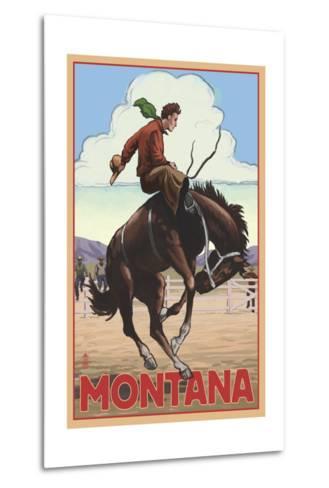 Montana - Cowboy and Bronco Scene-Lantern Press-Metal Print