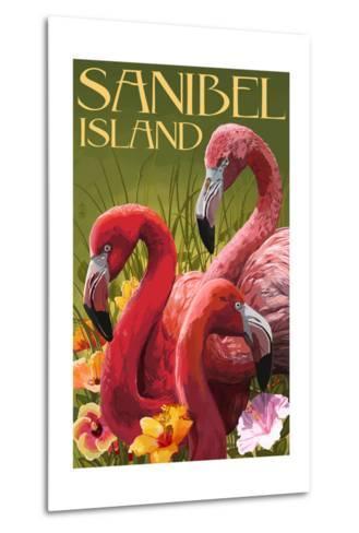 Sanibel Island, Florida - Flamingos-Lantern Press-Metal Print