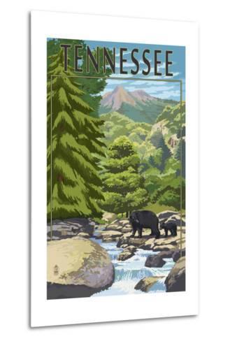 Tennessee - Bears and Creek-Lantern Press-Metal Print