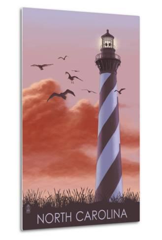 North Carolina - Lighthouse at Sunrise-Lantern Press-Metal Print